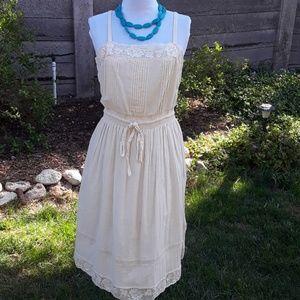 REBECCA TAYLOR CREAM COTTON/LACE SUMMER DRESS *559